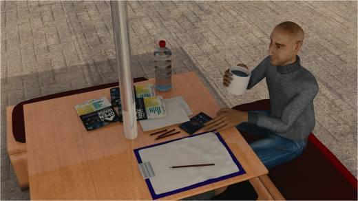 Syam sedang mencari ide  dan belajar animasi sambil menikmati secangkir kopi